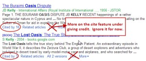"""Image showing Google Scholar's """"Cite by"""" feature."""