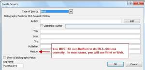 How to start a book citation, MLA 7th, using Word.