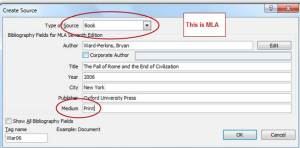 Example of a book citation, MLA 7th, using Word.Courtesy of Microsoft.