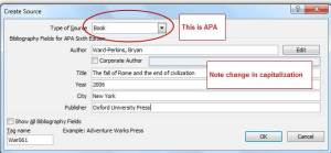 How to fill out Word boxes to do a book citation.