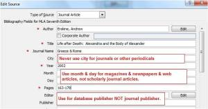 Example of MLA journal citation using Word.